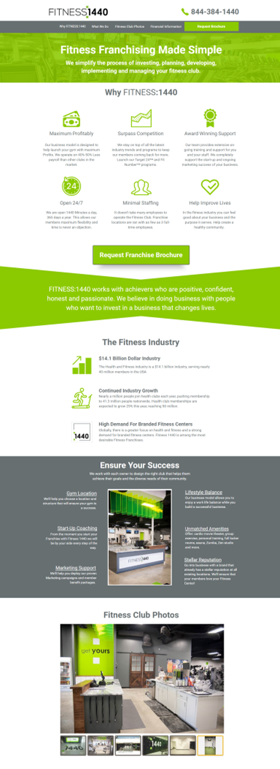 Fitness Franchise Landing Page