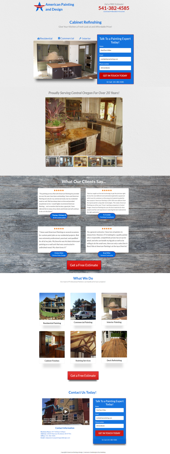 Painting Contractor Landing Page