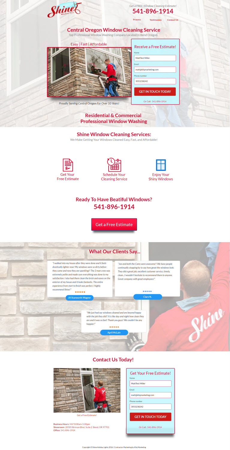 Window Cleaning Landing Page