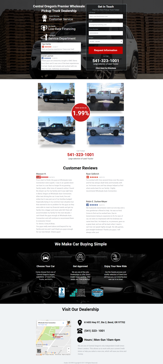Used Auto Dealer Landing Page